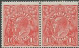 SG 77d ACSC 89(24)n. KGV Head 1½d Scarlet, curved '1' and thin fraction at left pair (AHSMP/392)